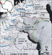 The collapse of the Larsen B ice shelf. Credit: NASA