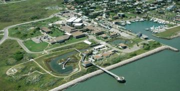 Aerial view of the University of Texas Marine Science Institute.